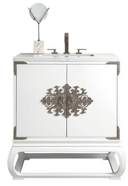 JAMES MARTIN 887-V30-GW-3AF ECHO PARK 32 INCH SINGLE VANITY IN GLOSSY WHITE WITH 3 CM ARCTIC FALL SOLID SURFACE TOP