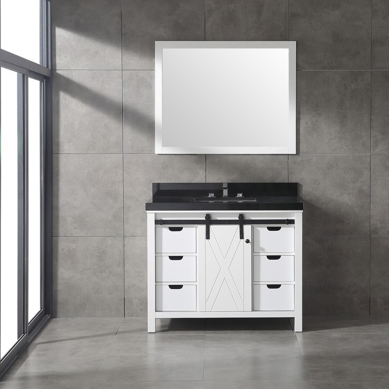 Eviva Evvn529 42wh Dallas 42 Inch Bathroom Vanity In White With Absolute Black Granite Countertop