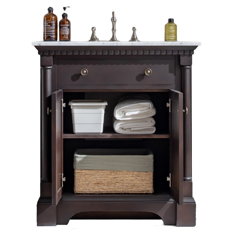 Eviva EVVN718-30ACH Prton 31 Inch Bathroom Vanity in Aged Chocolate with White Carrara Marble Countertop and Undermount Sink