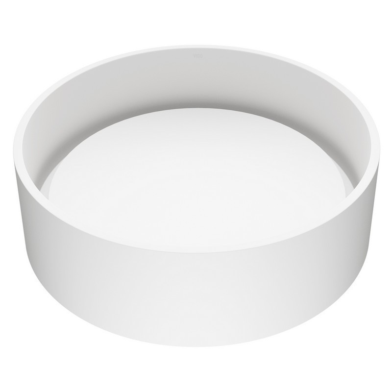 VIGO VG04016 16 INCH ANVIL MATTE STONETM VESSEL BATHROOM SINK IN WHITE