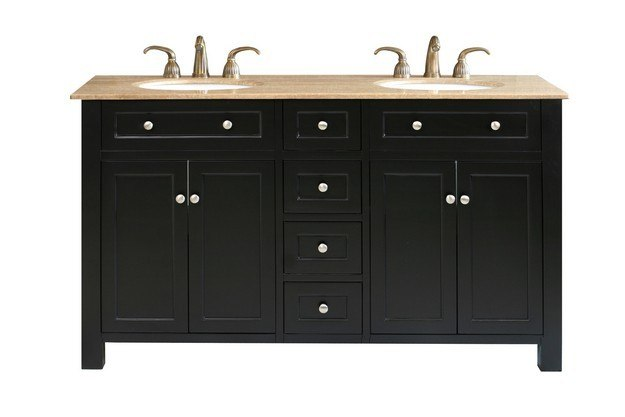 BELLATERRA HOME 603210 62 INCH DOUBLE SINK VANITY WOOD-BLACK
