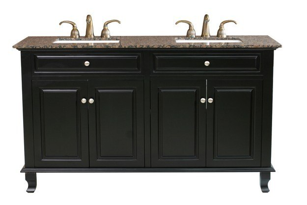 BELLATERRA HOME 603215-62B-BB 62 INCH DOUBLE SINK VANITY-WOOD-EBONY