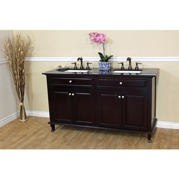 BELLATERRA HOME 603215-62DM-BG 62 INCH DOUBLE SINK VANITY-DARK MAHOGANY