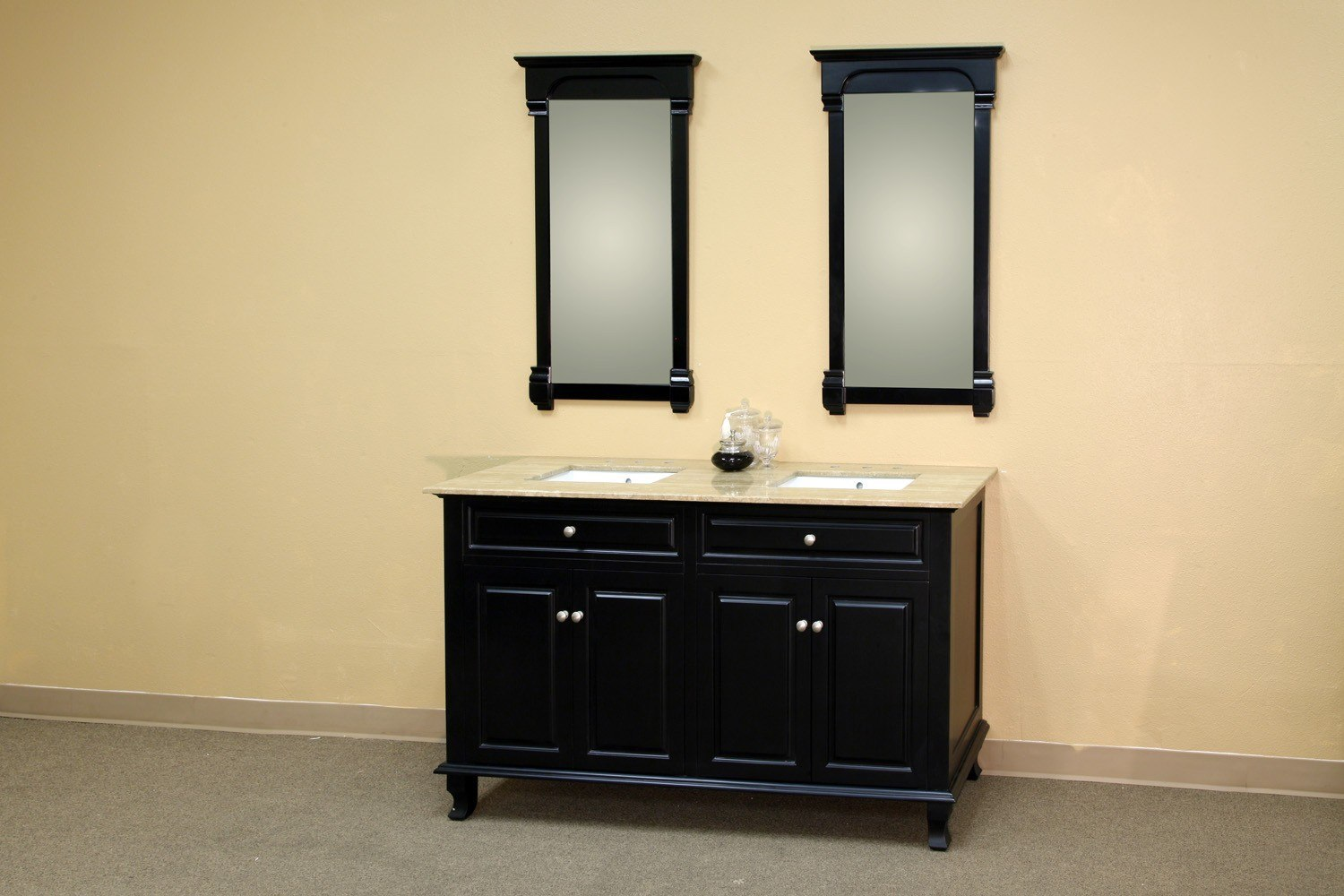 BELLATERRA HOME 603215-62B-TR 62 INCH DOUBLE SINK VANITY-WOOD-EBONY