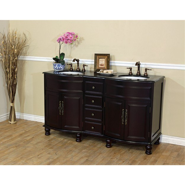 BELLATERRA HOME 603316-DM-BG 62 INCH DOUBLE SINK VANITY-DARK MAHOGANY-BLACK GALAXY