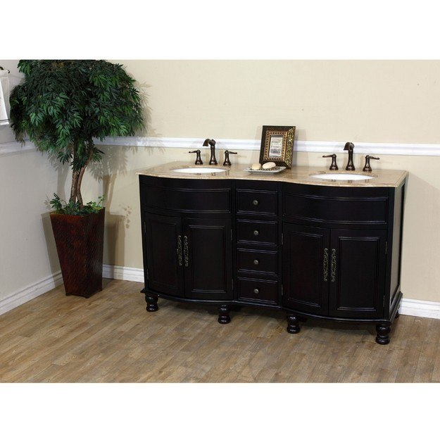 BELLATERRA HOME 603316-DM-TR 62 INCH DOUBLE SINK VANITY-DARK MAHOGANY-TRAVERTINE