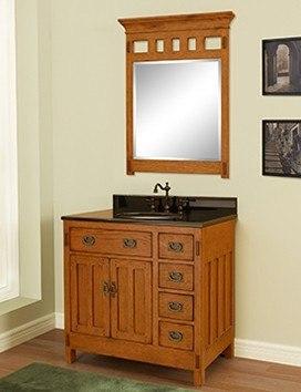 Sagehill Designs AC3621D Rustic Oak American Craftsman 36 Inch Oak Wood Vanity Cabinet