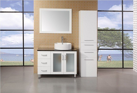 Design Element DEC066B-W Malibu 39 Inch Single Sink Vanity Set in White