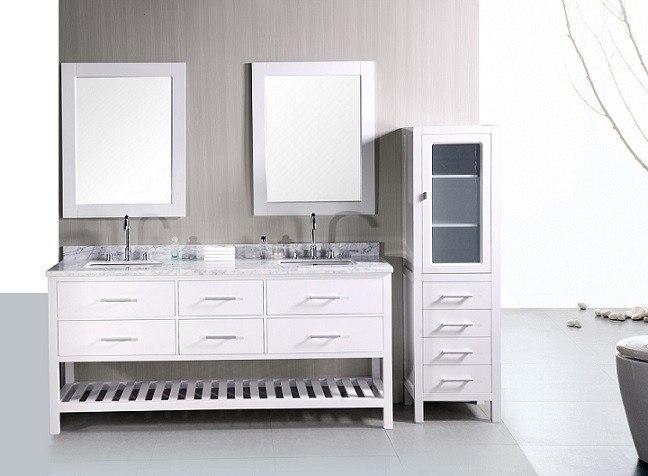 Design Element Dec077b W London 72 Inch Double Sink Vanity Set In White