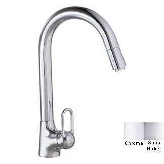 Franke FF-1180 Series Side-Lever Gooseneck Faucet w/ Pull-Out Stream - Satin Nickel