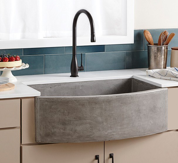 Native Trails NSKQ3320 Farmhouse 33 Inch Quartet NativeStone Concrete Curved Apron Front Sink
