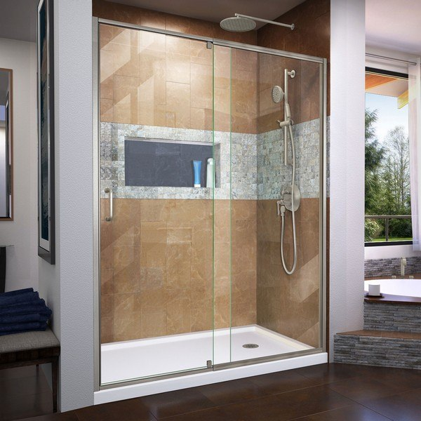 DREAMLINE DL-6223R-04 FLEX 32 D X 60 W X 74 3/4 H SEMI-FRAMELESS SHOWER DOOR IN BRUSHED NICKEL WITH RIGHT DRAIN BASE KIT