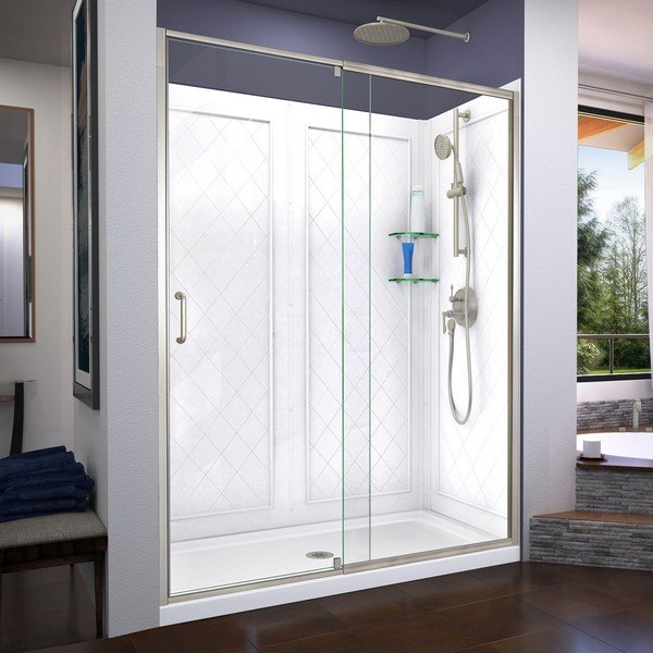 DREAMLINE DL-6230-04 FLEX 36 D X 60 W X 76 3/4 H SEMI-FRAMELESS SHOWER DOOR IN BRUSHED NICKEL WITH DRAIN BASE AND BACKWALLS