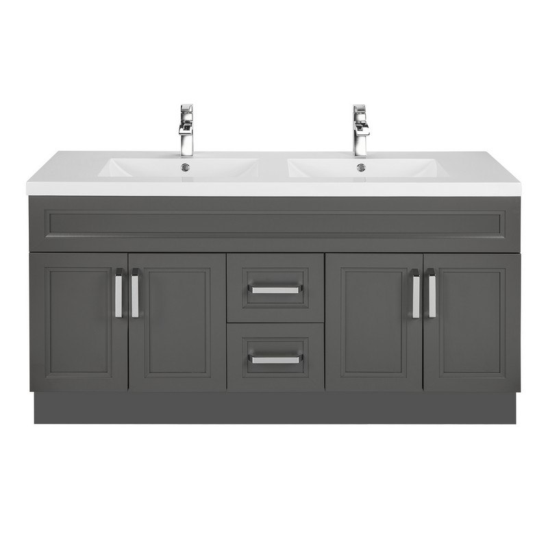 Cutler Kitchen And Bath Urbsd60dbt Urban Collection 60 Inch Bathroom Vanity With Double Bowl Top In