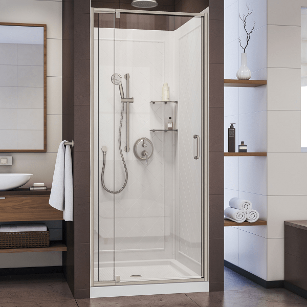 DREAMLINE DL-6217C-04CL FLEX 32 D X 32 W X 76-3/4 H SEMI-FRAMELESS SHOWER DOOR IN BRUSHED NICKEL WITH WHITE BASE AND BACKWALLS