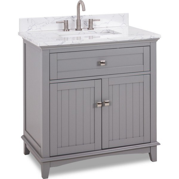 HARDWARE RESOURCES VN-SAV-36-GR-EC JEFFREY ALEXANDER SAVINO 36 INCH VANITY IN GREY WITH ENGINEERED WHITE CARRARA MARBLE TOP