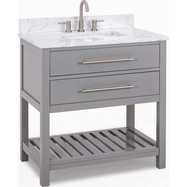 HARDWARE RESOURCES VN-WAV-36-GR-EC JEFFREY ALEXANDER WAVECREST 36 INCH VANITY IN GREY WITH ENGINEERED WHITE CARRARA MARB