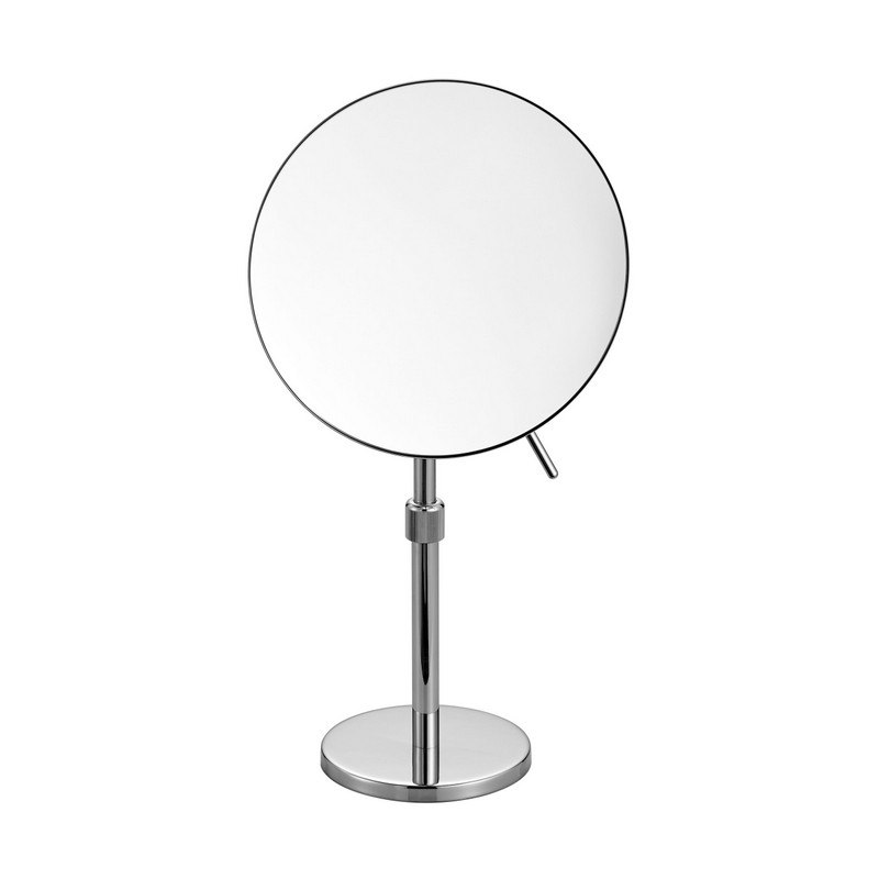 KUBEBATH 8167 AQUA RONDO MAGNIFYING MIRROR WITH ADJUSTABLE HEIGHT IN TRIPLE CHROME