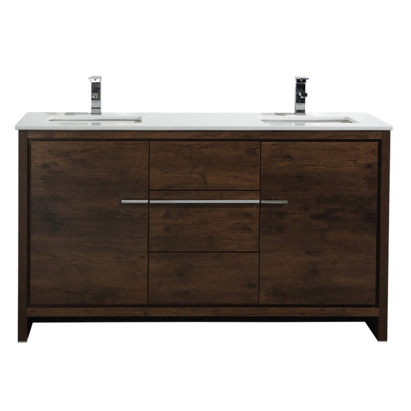 KUBEBATH AD660SRW DOLCE 60 INCH MODERN BATHROOM VANITY WITH WHITE QUARTZ COUNTER-TOP IN ROSE WOOD