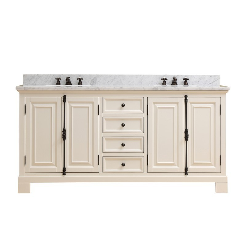 WATER-CREATION GREENWICH72AW GREENWICH 72 INCH ANTIQUE WHITE DOUBLE SINK BATHROOM VANITY