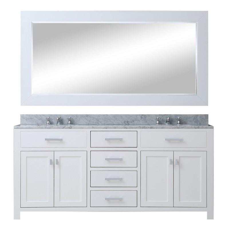 Water Creation Madison60wb Madison 60 Inch Pure White Double Sink Bathroom Vanity With Matching Framed Mirror