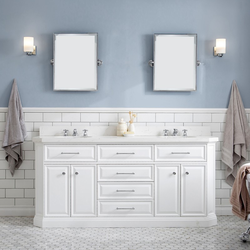 Water Creation Pa72a 0100pw Palace 72 Inch Quartz Carrara Pure White Bathroom Vanity Set In Chrome