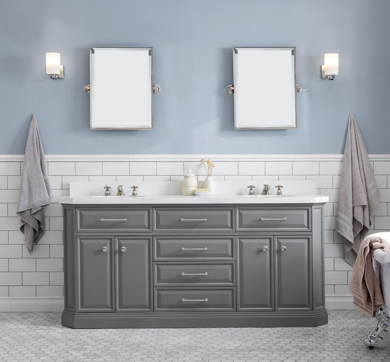 Water Creation Pa72c 0109cg Palace 72 Inch Quartz Carrara Cashmere Grey Bathroom Vanity Set And Faucets In Chrome