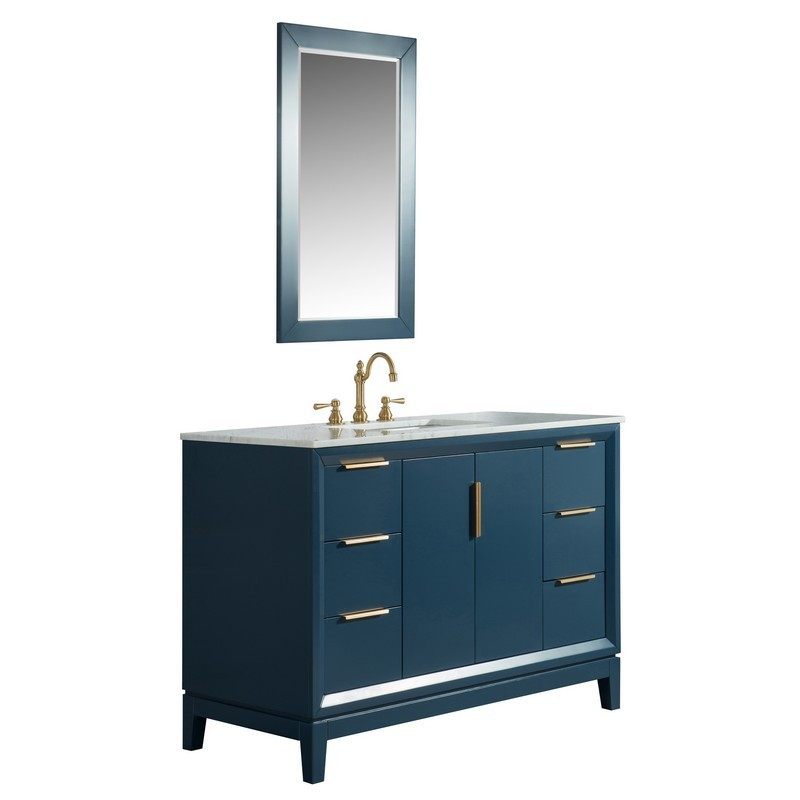 WATER-CREATION EL48CW06MB-R21TL1206 ELIZABETH 48 INCH SINGLE SINK CARRARA WHITE MARBLE VANITY IN MONARCH BLUE WITH MATCHING MIRROR AND LAVATORY FAUCET
