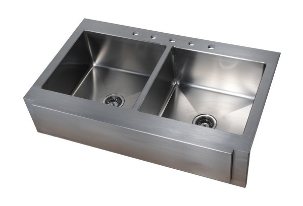 Empire Industries F42d Empire 42 Inch Farmhouse Stainless Steel 16 Gauge Double Bowl Kitchen Sink In Silver With