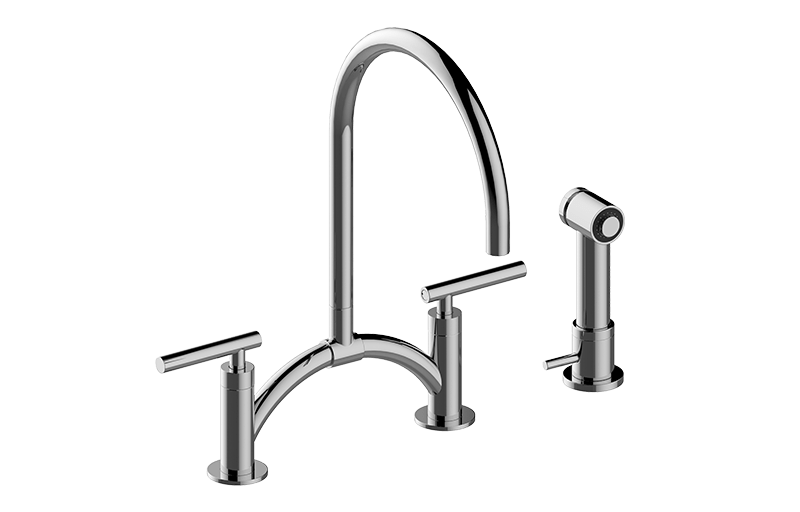 GRAFF G-4895-LM49 Sospiro Contemporary Bridge Kitchen Faucet with  Independent Side Spray