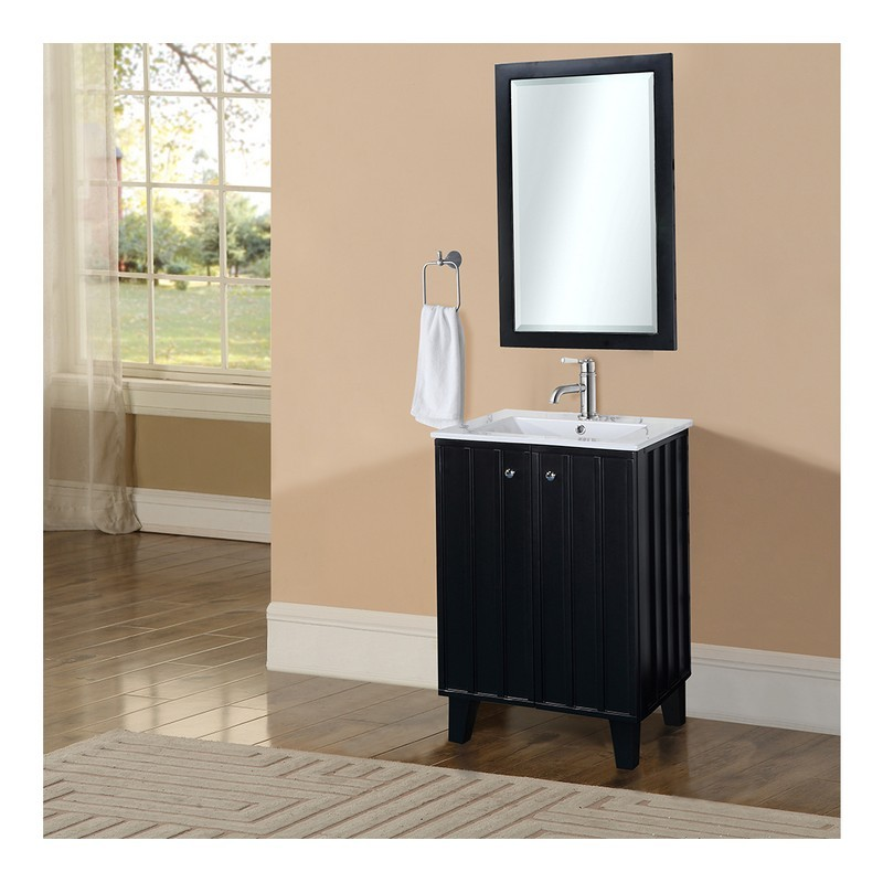 Infurniture In3124 B 24 Inch Single Sink Bathroom Vanity With Ceramic Top In Black