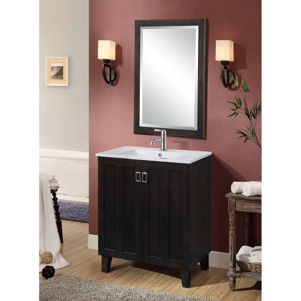 Awe Inspiring Infurniture In3230 Db 30 Inch Single Sink Bathroom Vanity With Ceramic Top In Dark Brown Download Free Architecture Designs Pushbritishbridgeorg