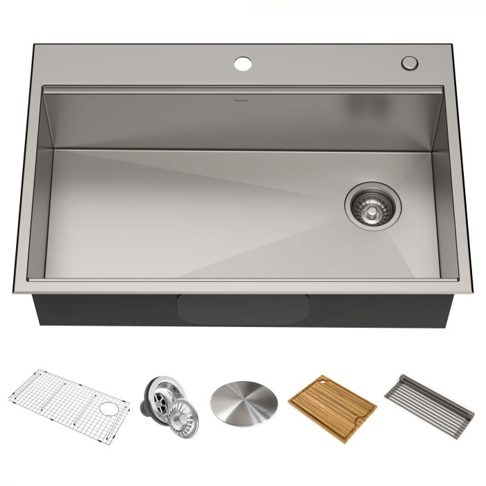 KRAUS KWT310-30 KORE WORKSTATION 30 INCH DROP-IN OR UNDERMOUNT 16 GAUGE SINGLE BOWL STAINLESS STEEL KITCHEN SINK WITH ACCESSORIES (PACK OF 5)