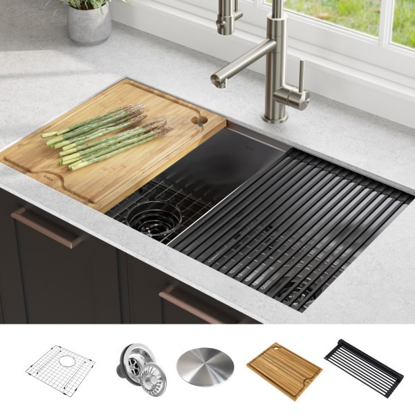 KRAUS KWU112-33 KORE WORKSTATION 33 INCH UNDERMOUNT 16 GAUGE DOUBLE BOWL STAINLESS STEEL KITCHEN SINK WITH ACCESSORIES (PACK OF 8)