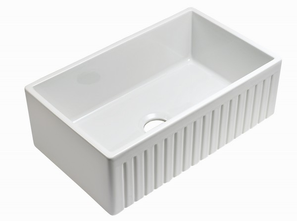 EMPIRE INDUSTRIES SP33SG SUTTON PLACE 33 INCH REVERSIBLE FARMHOUSE FIRECLAY  SINGLE BOWL KITCHEN SINK IN WHITE WITH GRID AND STRAINER