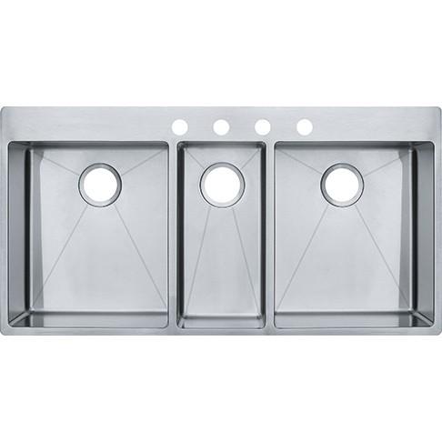 Franke Hft4322 4kit Vector 43 Inch Dual Mount Triple Bowl Polished Satin Kitchen Sink Kit