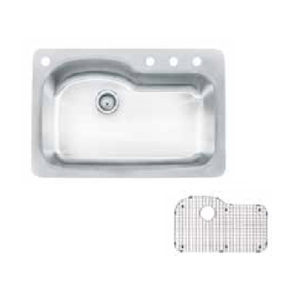 FRANKE FBSLD904-18KIT 33 INCH SINGLE BOWL 18 GAUGE STAINLESS STEEL KITCHEN SINK WITH GRID