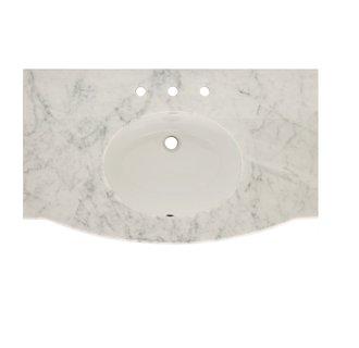 Sagehill Designs JV3722-CW Marble Java 37 Inch Carrara White Marble Vanity Top w/ Backsplash - Sink Included