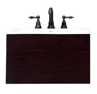 Sagehill Designs MT2418D Walnut Modesta Walnut 24 Inch Wall Mount Wood Vanity Cabinet