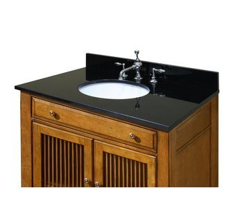 Sagehill Designs OW4922-MB Midnight Black 49 Inch Midnight Black Granite Vanity Top with 4 Inch Backsplash - Sink Included