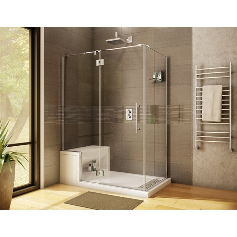 FLEURCO PGLR4436-40-79 LEXUS 42-43 W X 79 H INCH 2-SIDED DOOR AND FIXED PANEL WITH 36 INCH RETURN PANEL, GLASS SHELF SUPPORT AND 3/8 INCH CLEAR GLASS