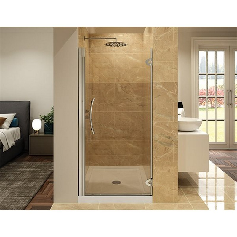 FLEURCO PK27-40-79 KARA FRAMELESS 27-28 W X 23 D X 79 H INCH PIVOT DOOR WITH WALL-MOUNT HINGES AND 3/8 INCH CLEAR GLASS