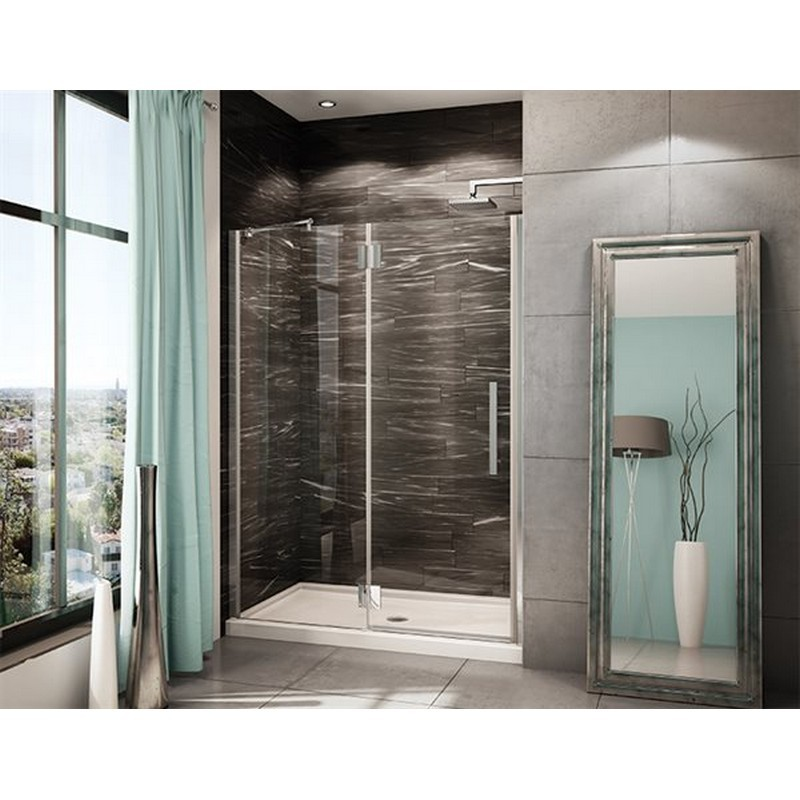 FLEURCO PXLP57-40-79 LEXUS 57-58 W X 25 D X 80-1/2 H INCH DOOR AND FIXED PANEL WITH GLASS TO GLASS HINGES, SUPPORT BAR AND 3/8 INCH CLEAR GLASS