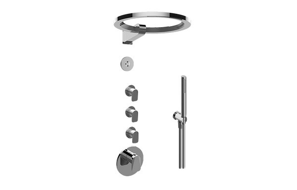 GRAFF GL4.029SC-LM59E0 SENTO THERMOSTATIC SET WITH AMETIS RING AND HANDSHOWER (ROUGH AND TRIM)