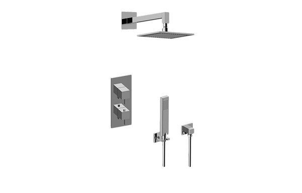 GRAFF GM2.022WD-LM39E0 QUBIC TRE THERMOSTATIC SHOWER SYSTEM - SHOWER WITH HANDSHOWER