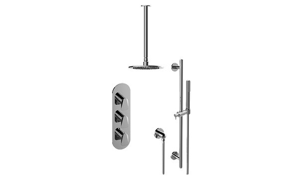 GRAFF GL3.011WB-LM59E0 SENTO THERMOSTATIC SHOWER SYSTEM - SHOWER WITH HANDSHOWER