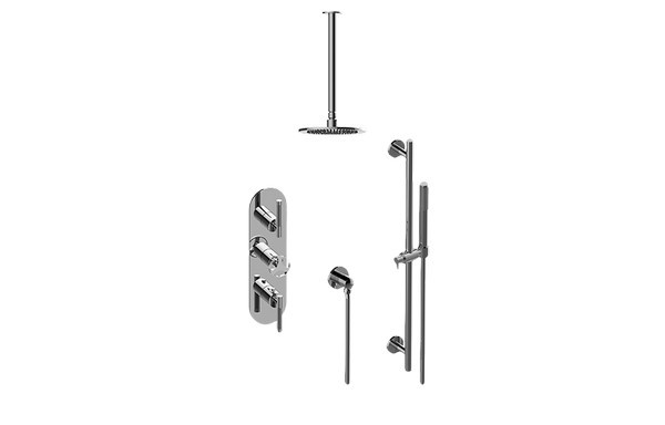 GRAFF GL3.041WB-ALM57C19 HARLEY THERMOSTATIC SHOWER SYSTEM - SHOWER WITH HANDSHOWER