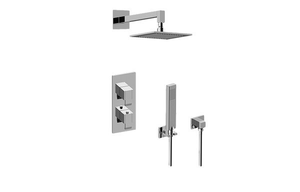 GRAFF GM2.022WD-LM38E0 QUBIC THERMOSTATIC SHOWER SYSTEM - SHOWER WITH HANDSHOWER