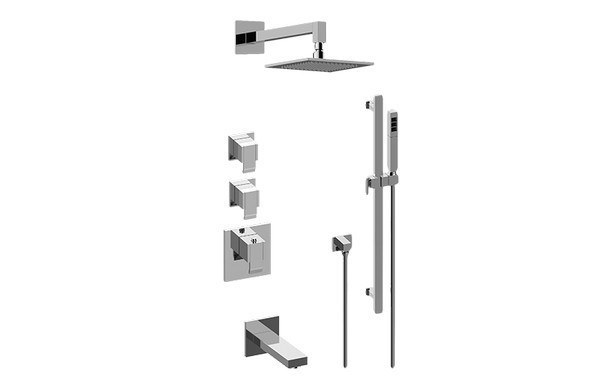 GRAFF GM3.612ST-LM38E0 QUBIC THERMOSTATIC SHOWER SYSTEM - TUB AND SHOWER WITH HANDSHOWER