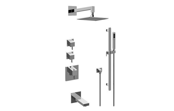 GRAFF GM3.612ST-LM39E0 QUBIC TRE THERMOSTATIC SHOWER SYSTEM - TUB AND SHOWER WITH HANDSHOWER